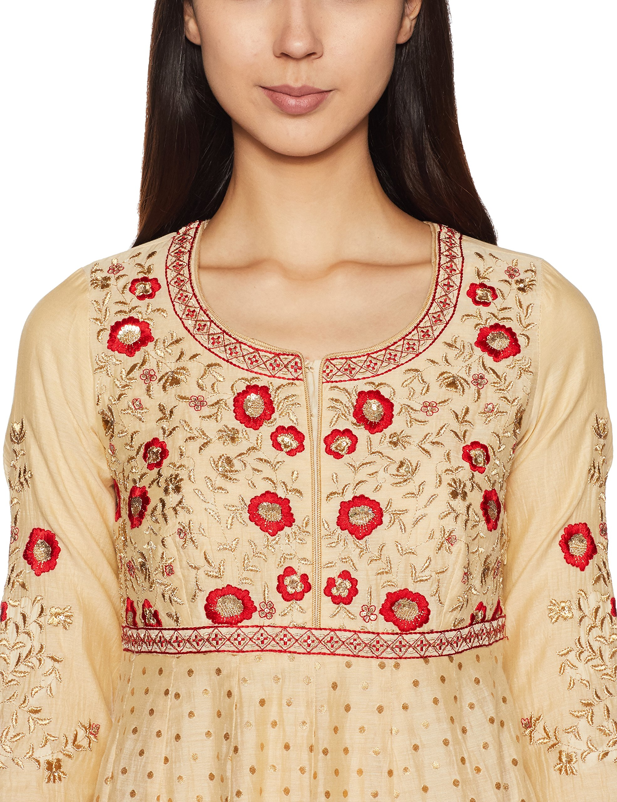 BIBA Women's Anarkali Poly Cotton Suit Set 32 Beige by Biba (Image #3)