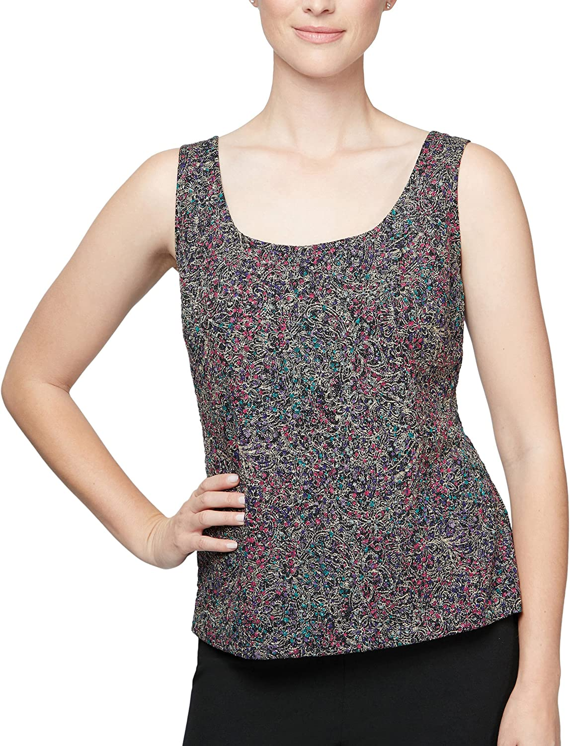 Alex Evenings Womens Plus Size Printed Twinset Tank Top and Jacket