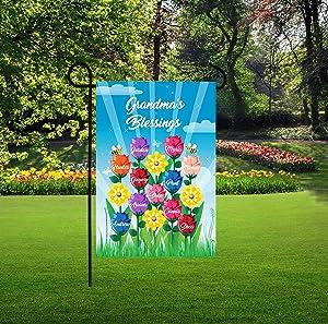 NicePodLLC Personalized Garden Flag-Personalized Mom Garden Flags, Roses Garden Flag, Grandkids Names on Roses, Grandma Favorites Garden Flag, Nana Blessings-Perfect