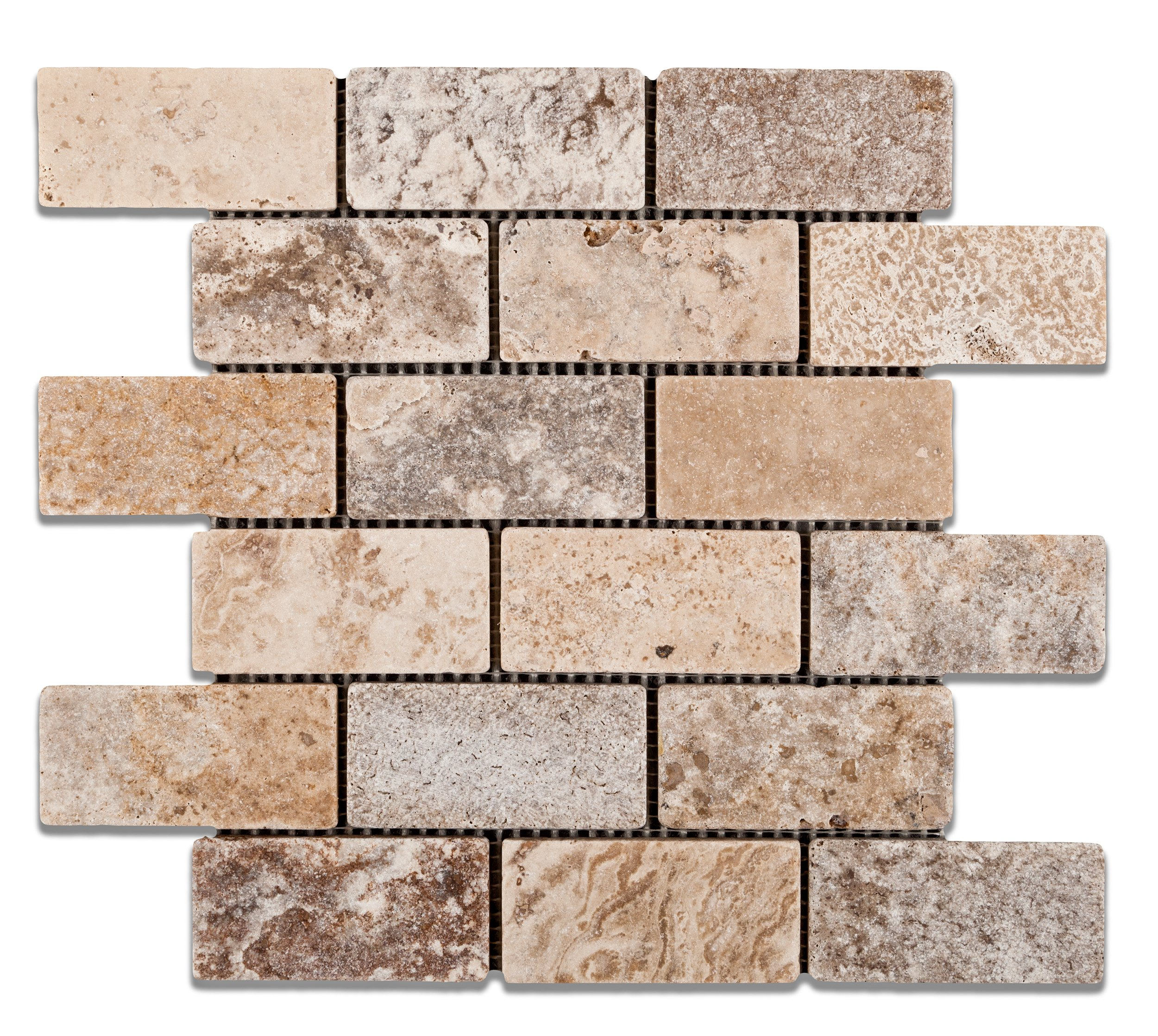 Andean Cream Peruvian Travertine 2 X 4 Tumbled Brick Mosaic Tile - Box of 5 Sheets