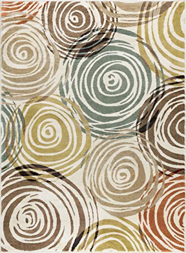 Joelle Contemporary Abstract Ivory Rectangle Area Rug