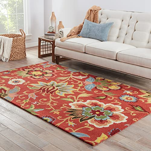 Jaipur Living Zamora Hand-Tufted Floral Leaves Red Area Rug 5 X 8