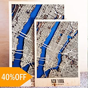 United States City Map Wall Art - Framed Poster Map of New York, Chicago or Any USA City. Wooden Wall Art Decor - USA City Picture - Light 15.7x23.6