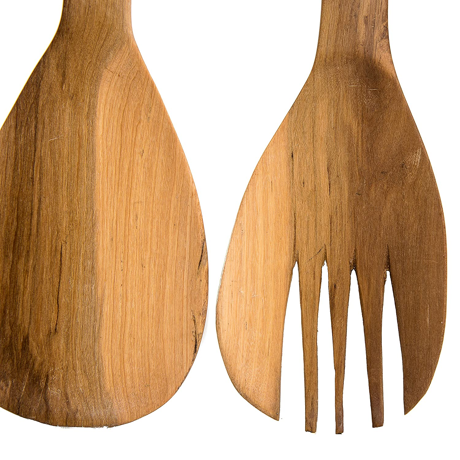 Handmade Large Teak Wood Salad Server Set 2 Piece Wooden Fair Trade Giraffe Salad Servers in an Eco-friendly Gift Bag Uniquely Designed /& Skilfully Crafted in Kenya by African Inspired Design