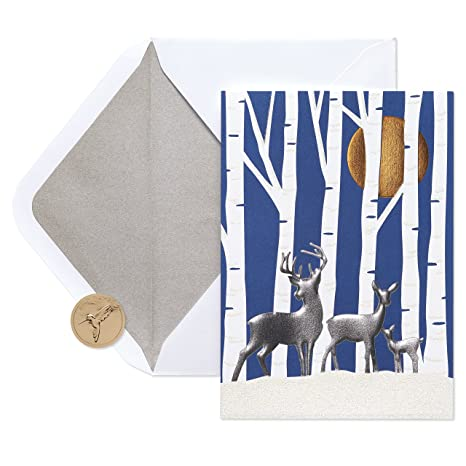 papyrus forest deer holiday cards boxed with silver foil lined white envelopes 12 - Papyrus Holiday Cards