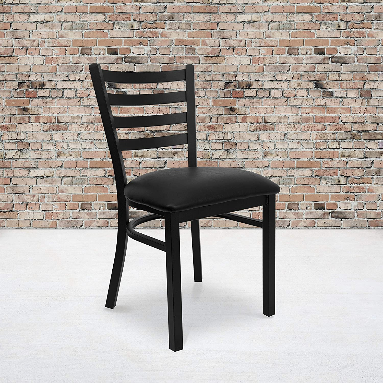 Flash Furniture 2 Pk. HERCULES Series Black Ladder Back Metal Restaurant Chair - Black Vinyl Seat