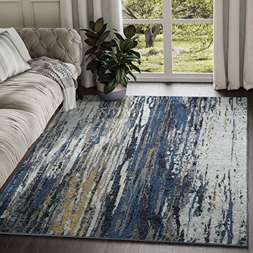 Abani Rugs Blue Yellow Painted Pattern Area Rug w Bold Design – Abani Rugs Modern 7 9 x 10 2 Accent Rug, Laguna Collection