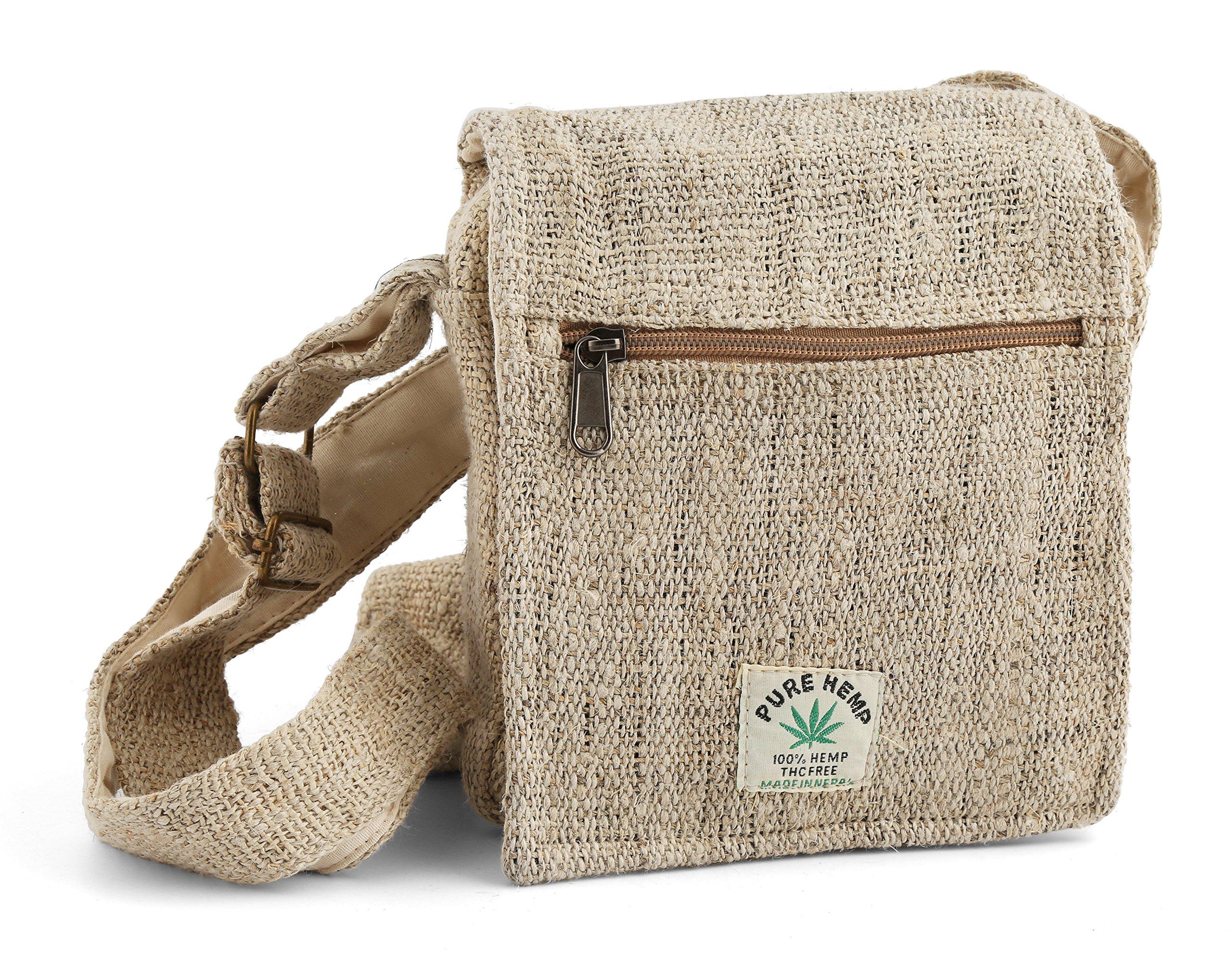 Hemp Sidepack - Natural Boho Crossbody Bag for Women or Men - Small