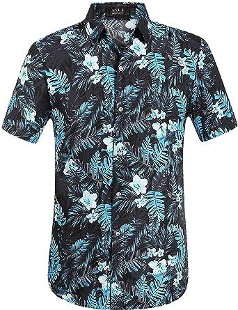 2c2d2a6f2e52e SSLR Chemise Hawaïenne Homme Tropical Manche Courte Casual Imprimé Jungle  (Small, Noir Gris)