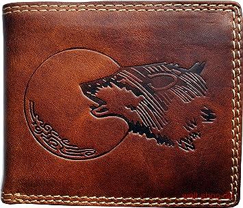 090a3d945c4de Hochwertige Geldbörse Geldbeutel Portemonnaie Büffel Wolf Mond geprägt