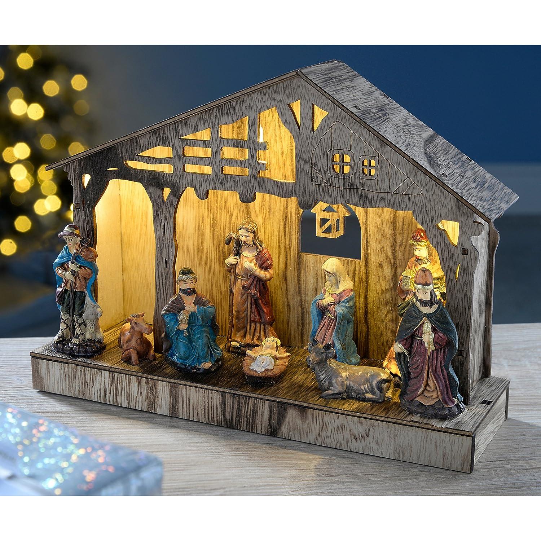 WeRChristmas Pre-Lit Colourful Nativity Scene Christmas Decoration, Wood, 26.5 cm - Multi-Colour