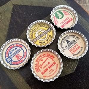 Vintage Retro Farmhouse Milk Caps Kitchen Refrigerator Magnets Set of 5
