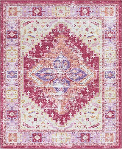 Lancelot Bright Pink and Bright Yellow Updated Traditional Area Rug 7 10 x 10 3
