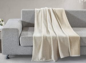 "Home Collections Beige Back Print Sherpa Throw Blanket, 50""x60"", Model: 021166149792"