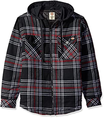 Amazon.com: Dickies Men's Quilted Flannel Overshirt with Fleece ... : quilted flannel jacket with hood - Adamdwight.com
