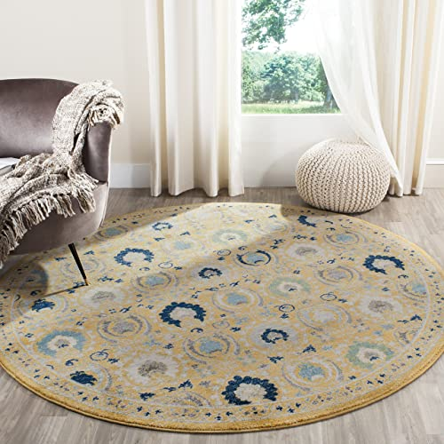 "Safavieh Evoke Collection EVK251B Contemporary Gold and Ivory Round Area Rug 6'7"" Diameter"