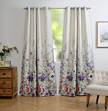 mysky home floral design print grommet top thermal insulated faux linen room darkening curtains for bedroom - Room Darkening Curtains