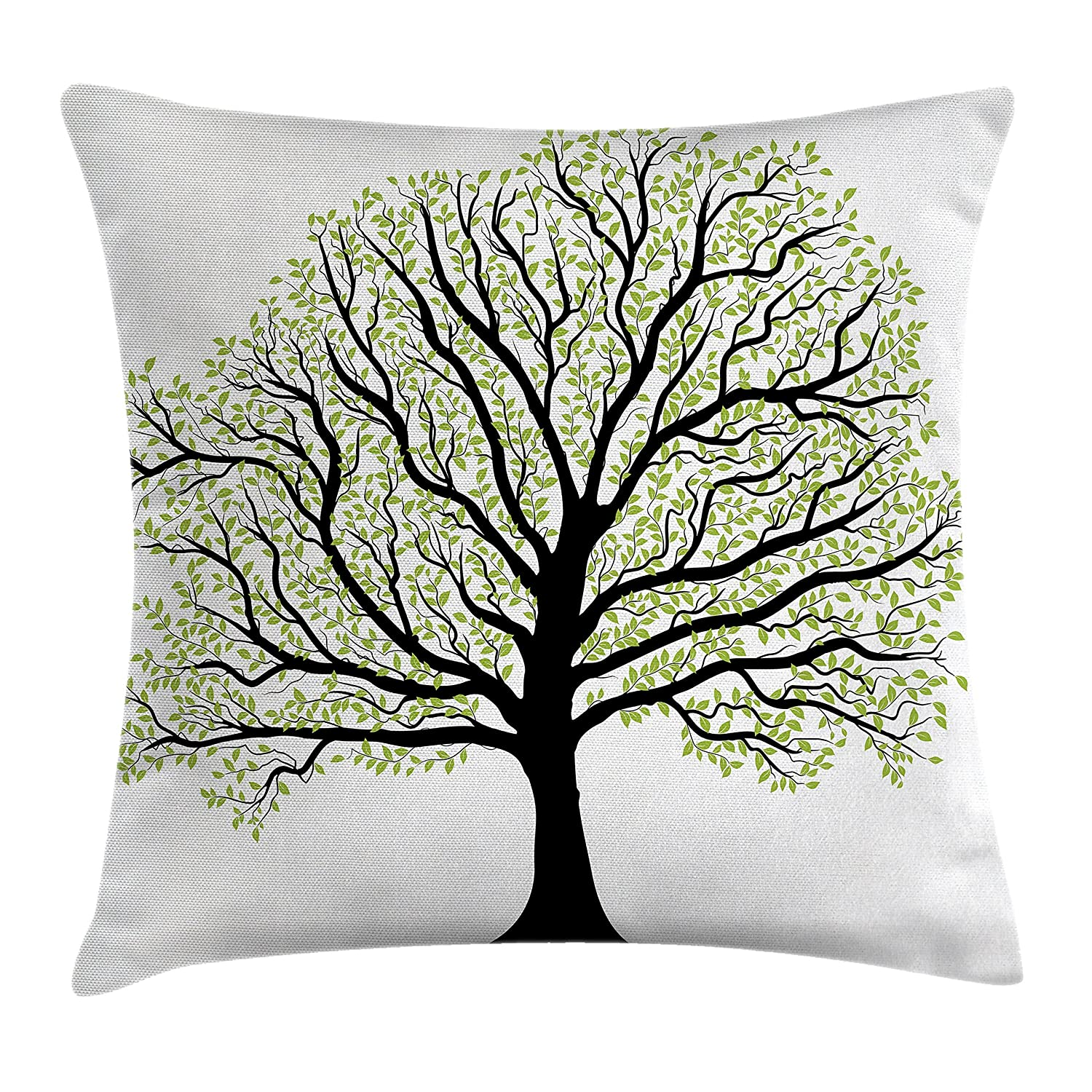 Black White Green Ambesonne Tree of Life Throw Pillow Cushion Cover Big Old Lush Tree with Lot of Leaves and Branches Nature Trust Home Art Decorative Square Accent Pillow Case 20 X 20 Inches