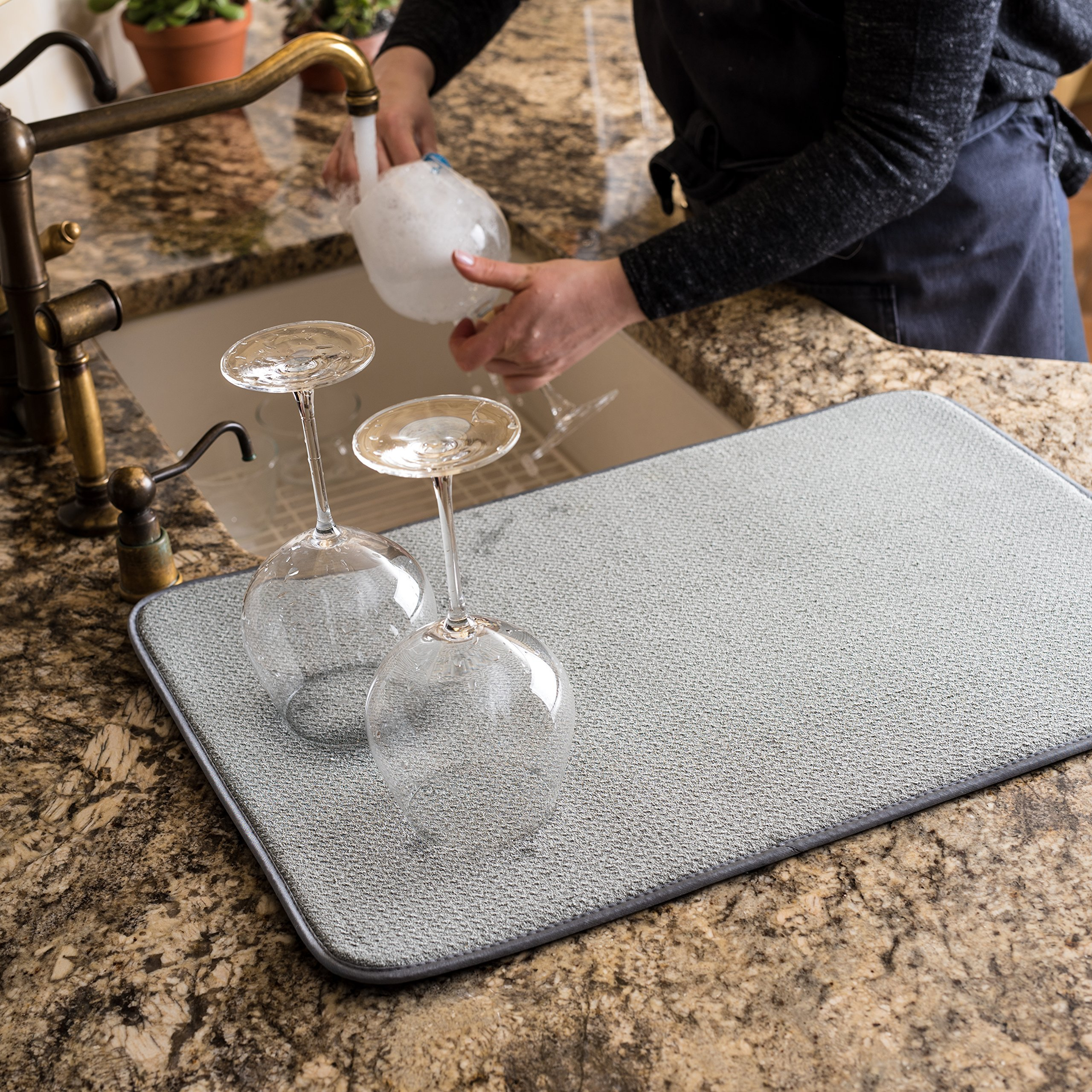 XXL Dish Mat 24'' x 17'' (LARGEST MAT) Microfiber Dish Drying Mat, Super absorbent by Bellemain by Bellemain (Image #3)