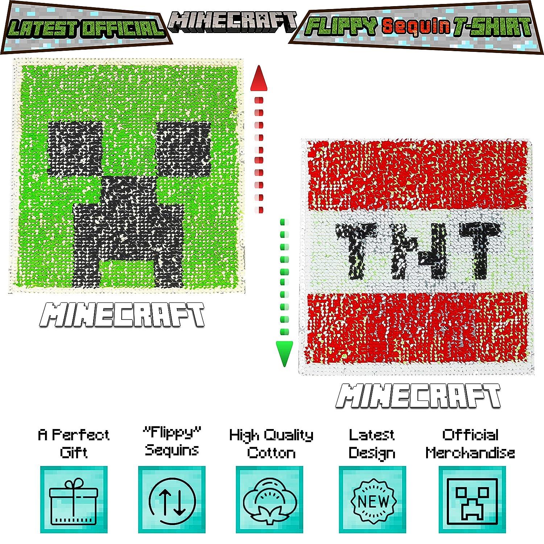 Kinder /& Jugendliche Kleidung Offizielle Waren Minecraft Zweiwegepaillette Jungen T-Shirt Graues Oberteil mit umgekehrter Pailletten-Pixel-Stil-Strampler-Motiv