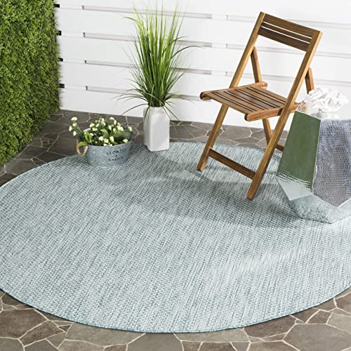 Safavieh Courtyard Collection CY8521-37121 Indoor Outdoor Area Rug, 5 3 Round, Aqua Grey