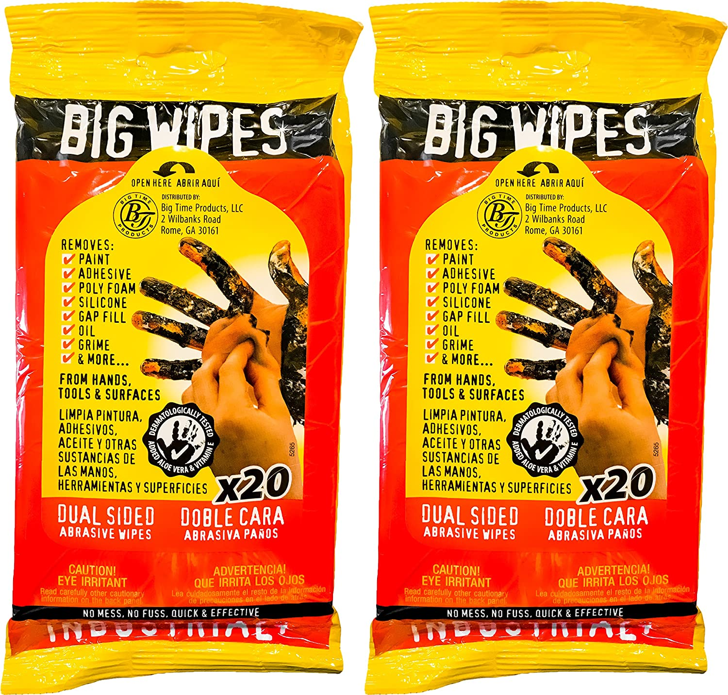 Big Wipes Heavy Duty Industrial Textured Scrubbing Wipes, 40 Count (2 Travel Packs) Sycamore