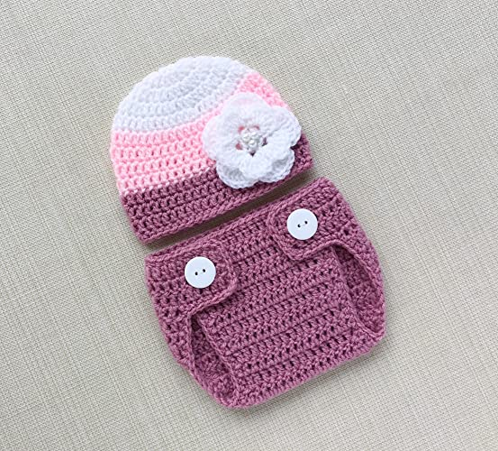 0de624a17 Image Unavailable. Image not available for. Color: Baby Girl Photo Prop  Outfits 0-6 months Crochet Newborn Hat and Bloomer For Infant