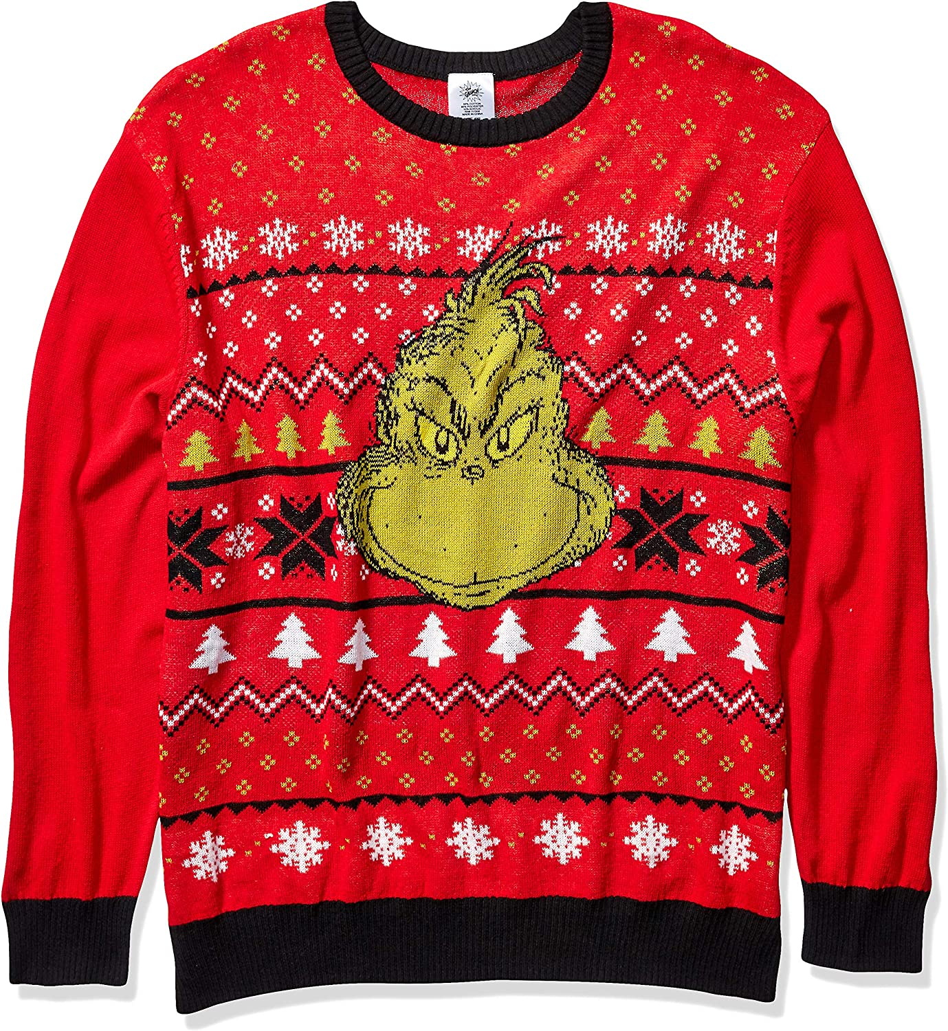 Dr. Seuss Men's Grinch Face Ugly Christmas Sweater