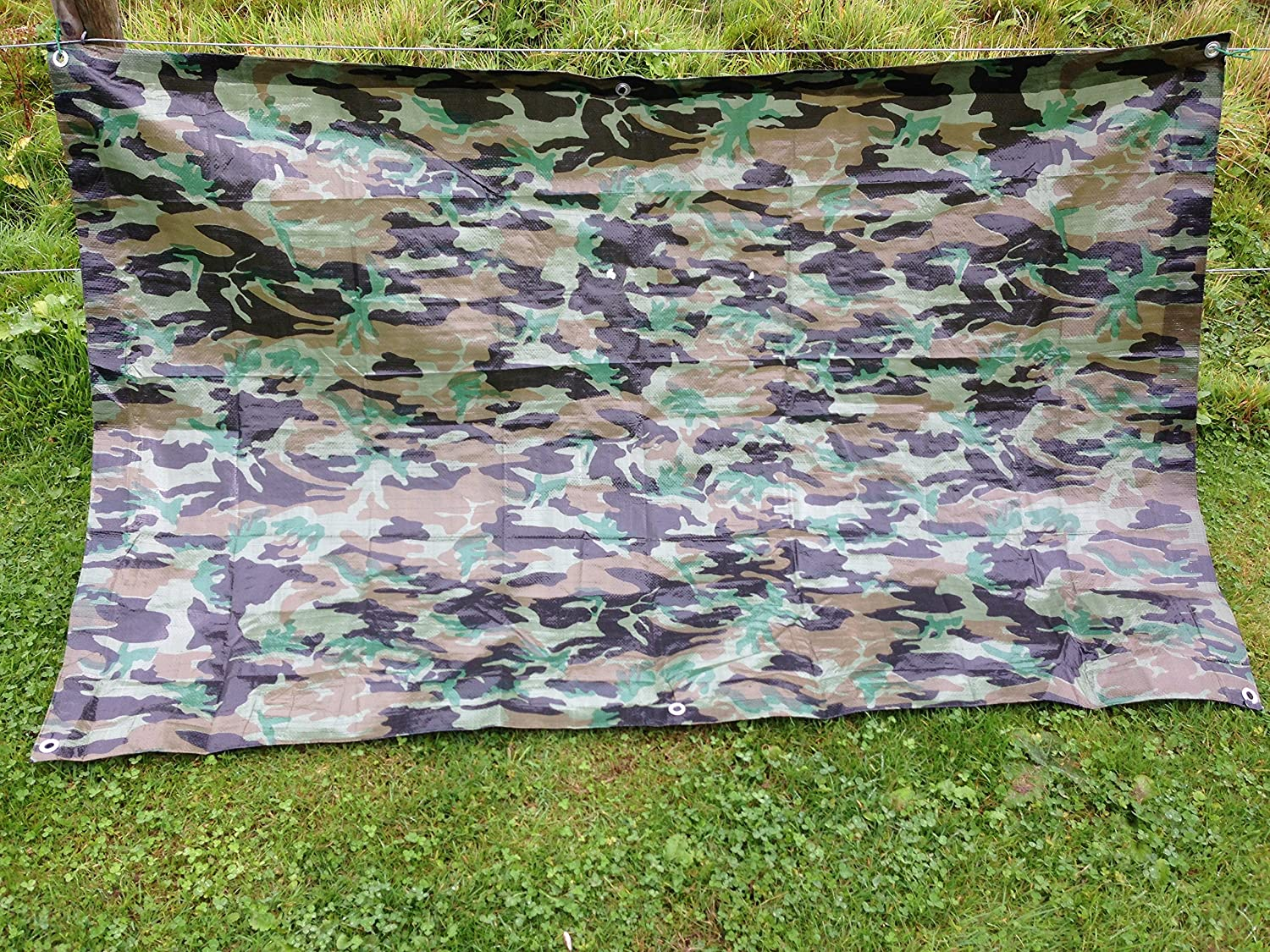1.2M x 1.8M ARMY CAMOUFLAGE WATERPROOF TARPAULIN SHEET TARP COVER WITH EYELETS