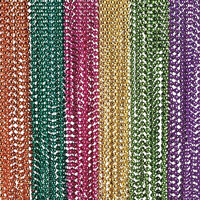 Fun Express - Metallic Neon Beaded Necklaces - Jewelry - Mardi Gras Beads - Mot Round - 48 Pieces: Clothing