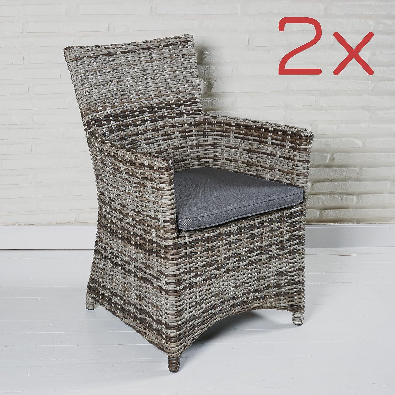 Gartensessel Gartenmöbel Set Braun 2 Stück Gartenstühle Armlehnenstuhl  Kissen Online Kaufen