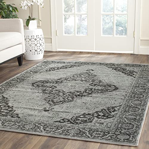Safavieh Vintage Premium Collection VTG159-110 Transitional Oriental Medallion Light Blue and Multi Distressed Silky Viscose Area Rug 11 x 15