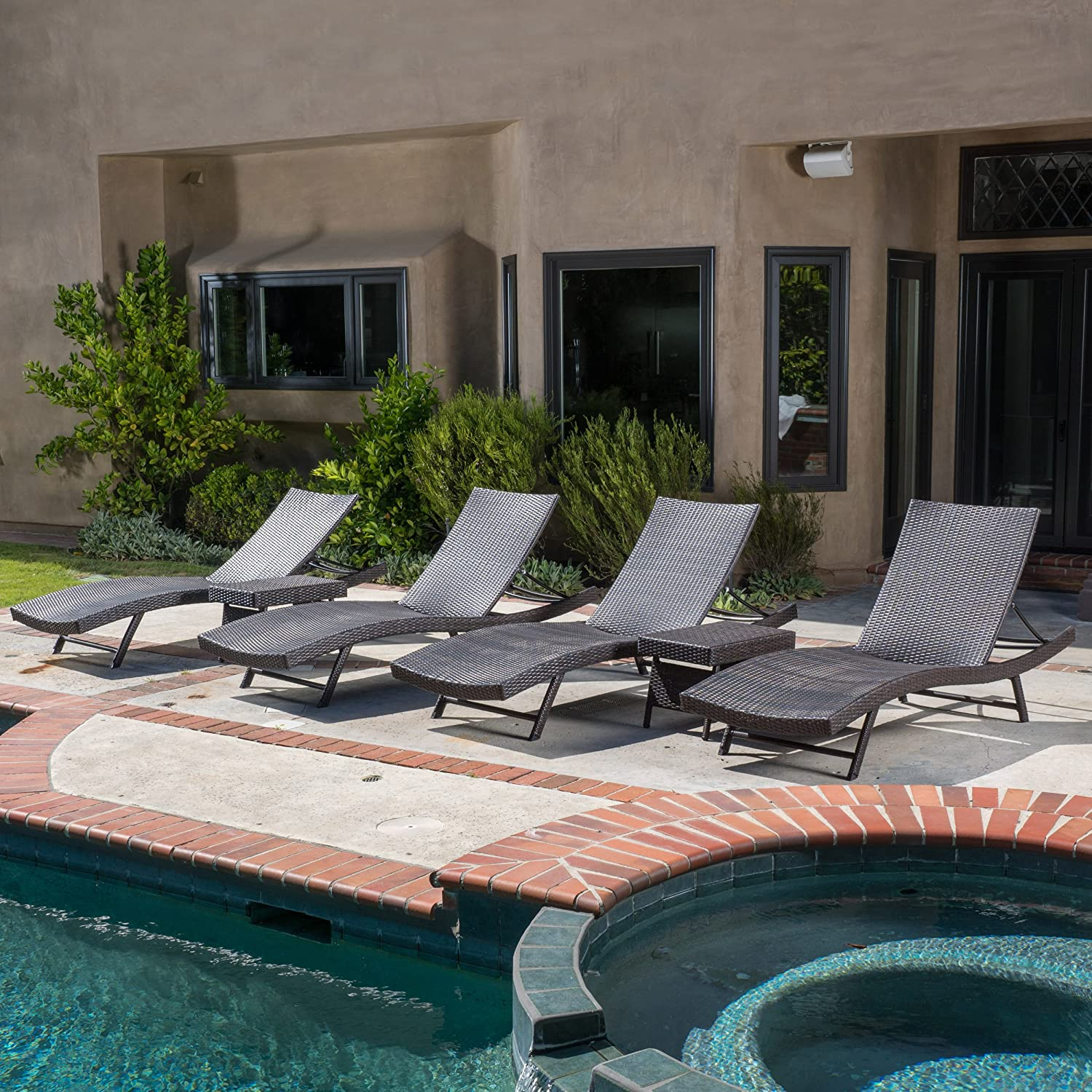 Christopher Knight Home Eliana Outdoor 6pc Brown Wicker Chaise Lounge Chairs Set