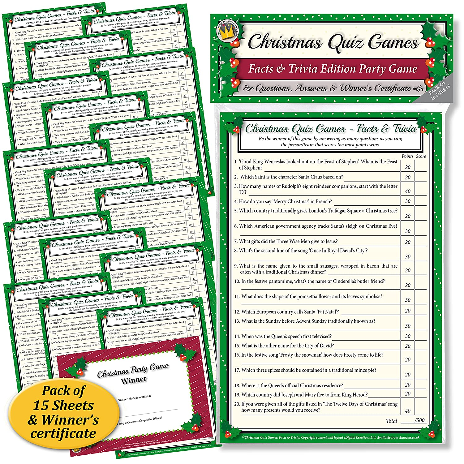 CHRISTMAS QUIZ GAMES: FACTS & TRIVIA PARTY GAME for Family, Office ...