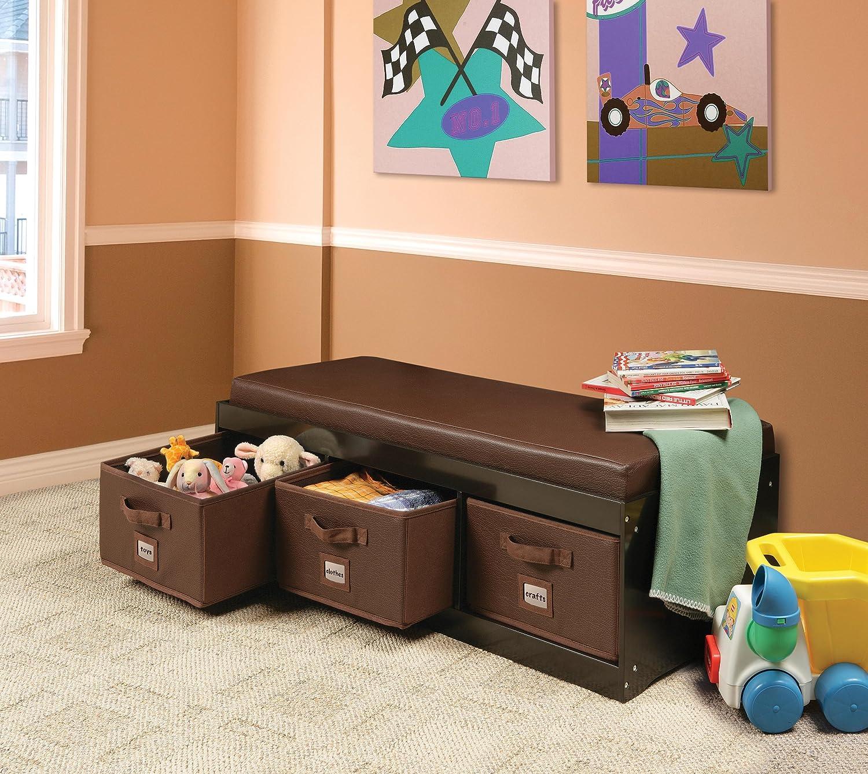 Amazon.com : Badger Basket Kidu0027s Storage Bench With Cushion And 3 Bins,  Espresso : Baby