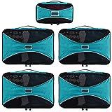 PRO Packing Cubes Packtaschen, Reise Kleidertaschen, Packwürfel, Reisetasche in Koffer, Koffertasche, Wäschebeutel, Schuhbeutel, Ultra-leichte Aufbewahrungstasche, 5-teiliges Set (Blue)