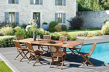 MACABANE 501180 Table rectangulaire Double Extension Couleur Miel en Teck  Dimension 200 300cm X 120cm 10c8634c9832