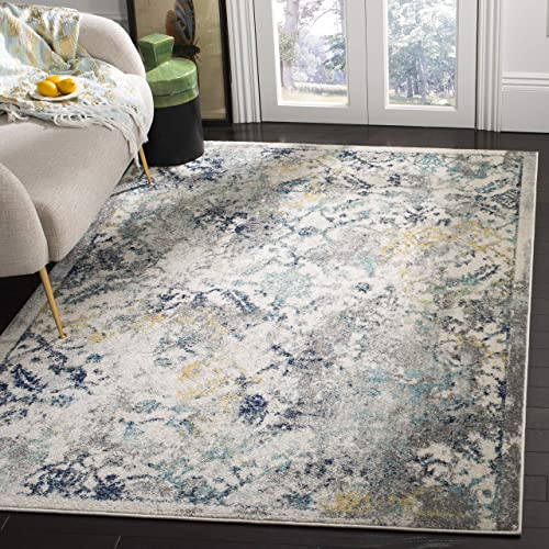Safavieh Madison Collection MAD159M Vintage Abstract Distressed Area Rug, 8 x 10 , Ivory Blue