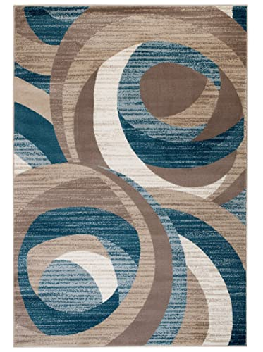Summit New Elite ST59 Blue Cream Beige Swirl Area Modern Abstract Rug Many Sizes Available