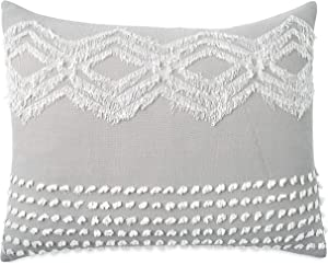 Peri Home Cut Geo 100% Cotton Pillow Sham, Standard, Grey