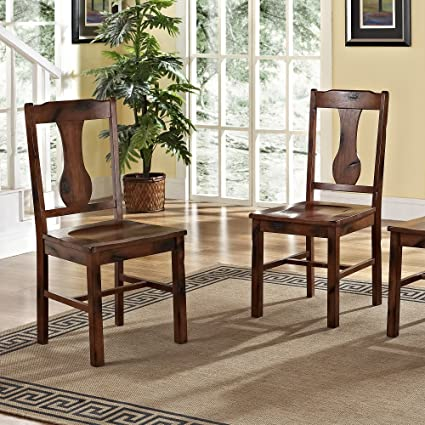 WE Furniture Solid Wood Dark Oak Dining Chairs, Set Of 2