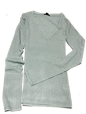 6301e17f Aeropostale Women's Long Sleeve Stripped V-Neck Tee Shirt Style 6096 - - X-