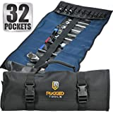 32 Pocket Tool Roll Organizer - Wrench Organizer & Tool Pouch - Wrench Roll Includes Pouches for 10 Sockets - Roll Up Tool Bag for Electrician, HVAC, Plumber, Carpenter or Mechanic - From Rugged Tool