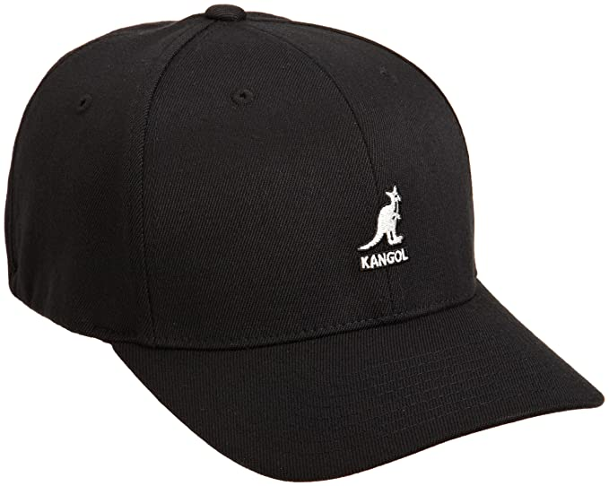 6b8fc723e01f44 Kangol Wool Flexfit Baseball Cap, Black, Small (Manufacturer Size:  Small/Medium