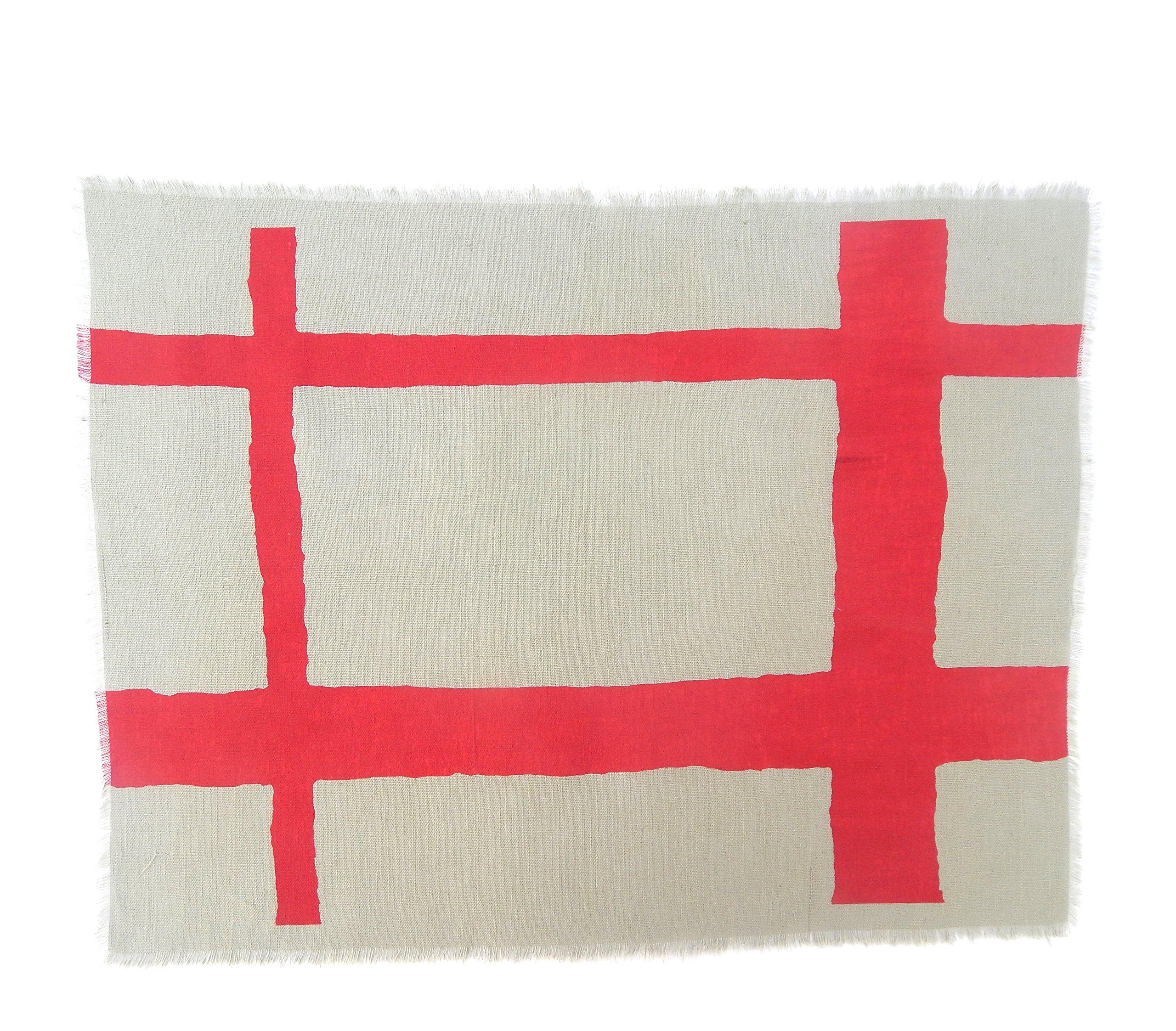 Gitika Goyal Home Windows Collection Cotton Khadi  Grey Mat 17x12 Checks Design, Red Hand Screen Print