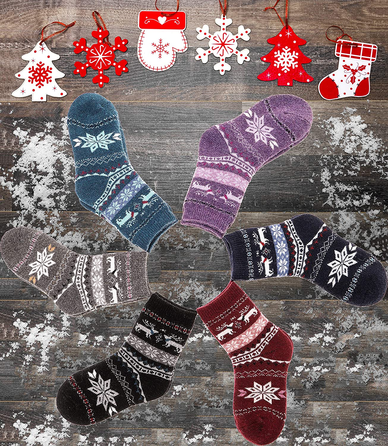 Childrens Wool Socks For Boy Girl Kid Thick Warm Thermal Cotton Winter Crew Socks 6 Pairs