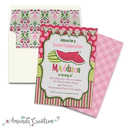 amazon com watermelon birthday party invitation handmade
