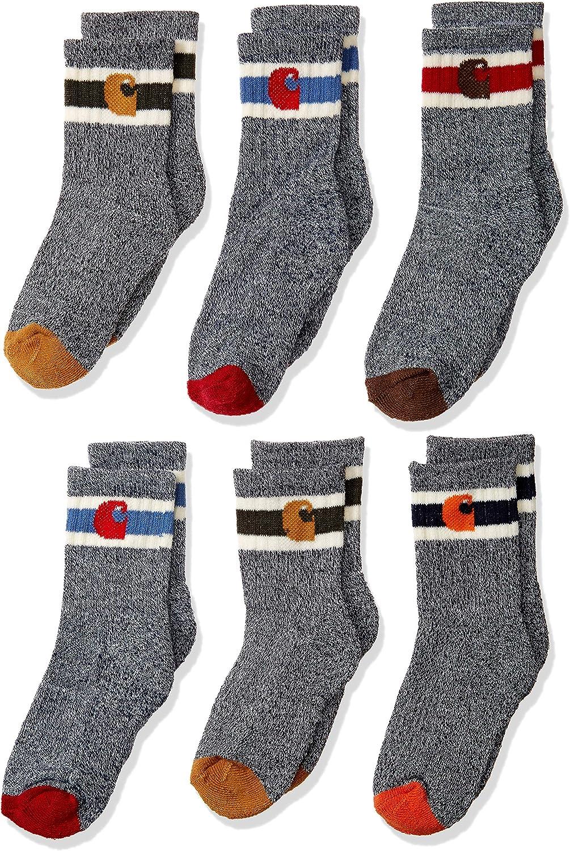 Carhartt Boys' Little Camp Crew Sock-6 Pair Pack, natural, tan, orange, red, brown, Shoe Size: 3-9