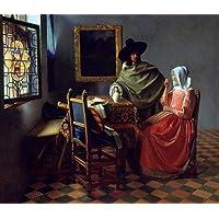 A Taça de Vinho Homem em Pé Servindo Mulher Sentada 1660 Pintura de Johannes Vermeer na Tela em Vários Tamanhos