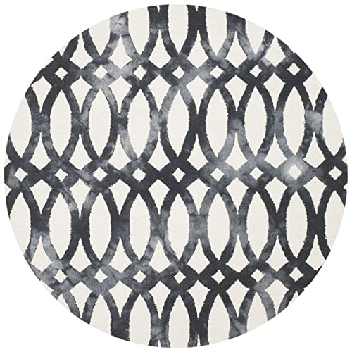 Safavieh Dip Dye Collection DDY675D Ivory and Graphite Round Area Rug, 5 in Diameter